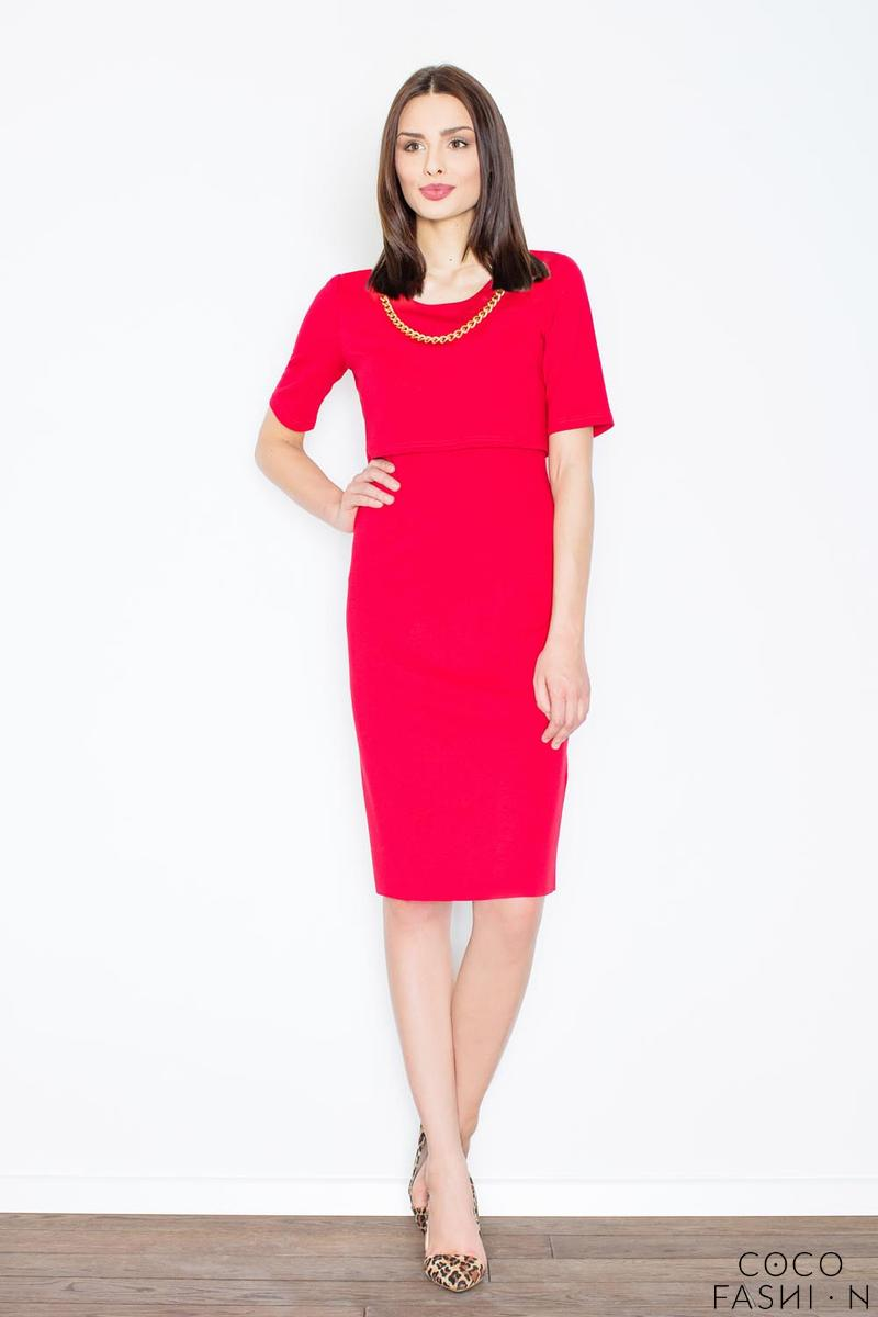 Red Two Layers Knee Length Dress with Decorative Chain