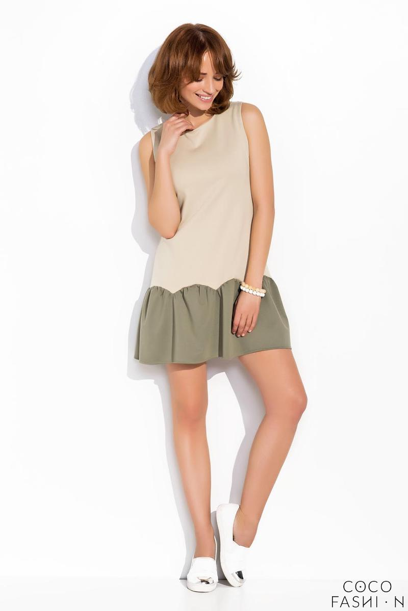 Beige Sleeveless Drop Waist Dress