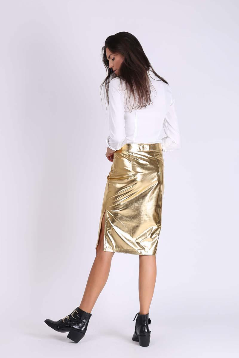 Gold Pencil Skirt of Glittering Fabric with Zipper