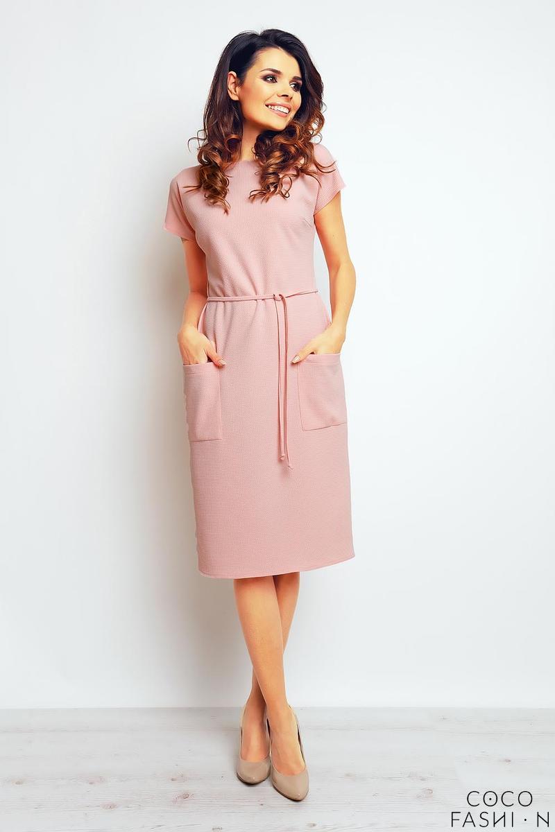 f6136c00290f Pink Casual Midi Dress with Big Pockets