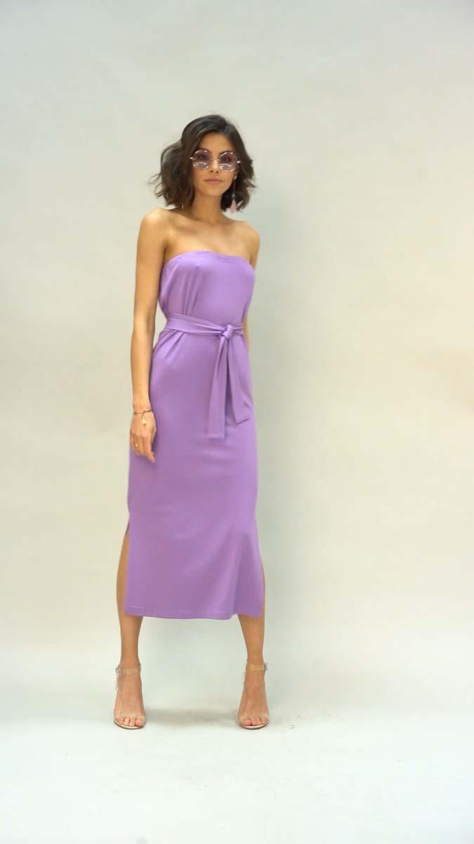 Simple Midi Dress with Open Shoulders - Violet