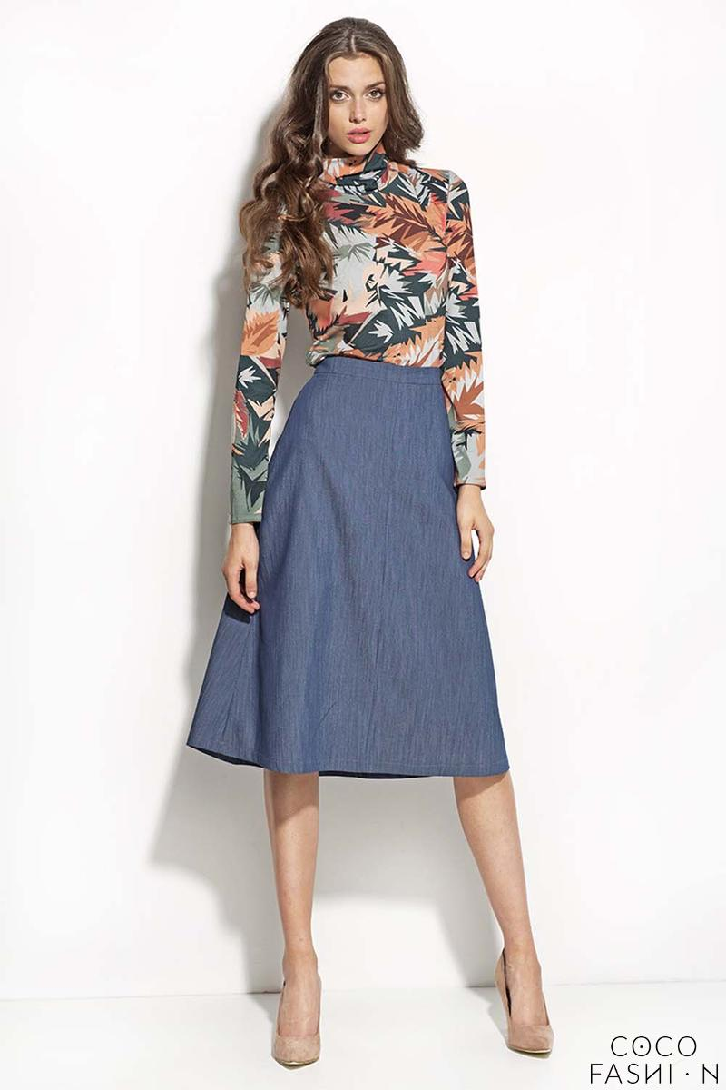 Blue Denim Midi Length Seam Skirt