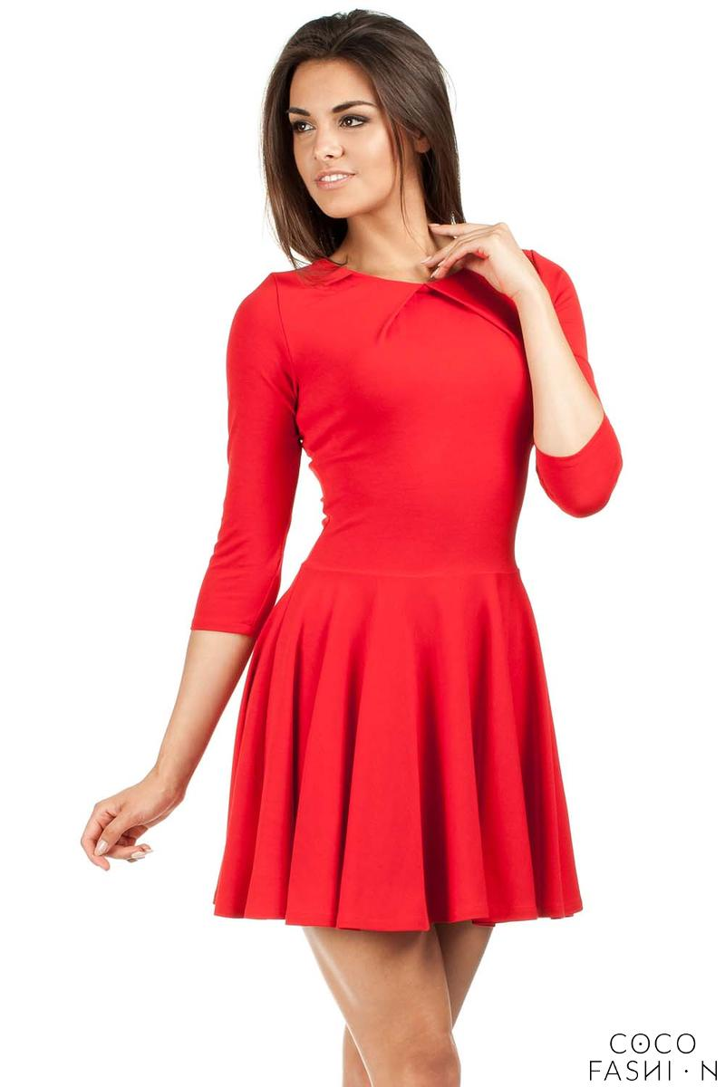 red-pleated-neckline-flippy-dress