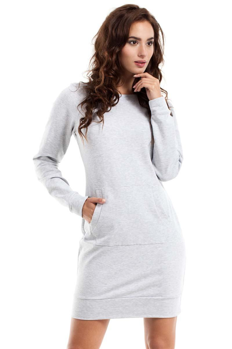 Light Grey Sport Style Dress with Kangoo Pocket