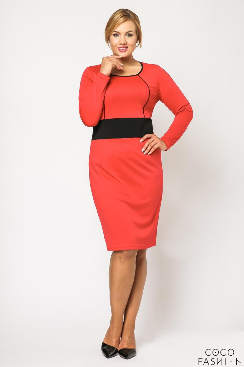 Red Long Sleeves Contrasting Waist Dress PLUS SIZE