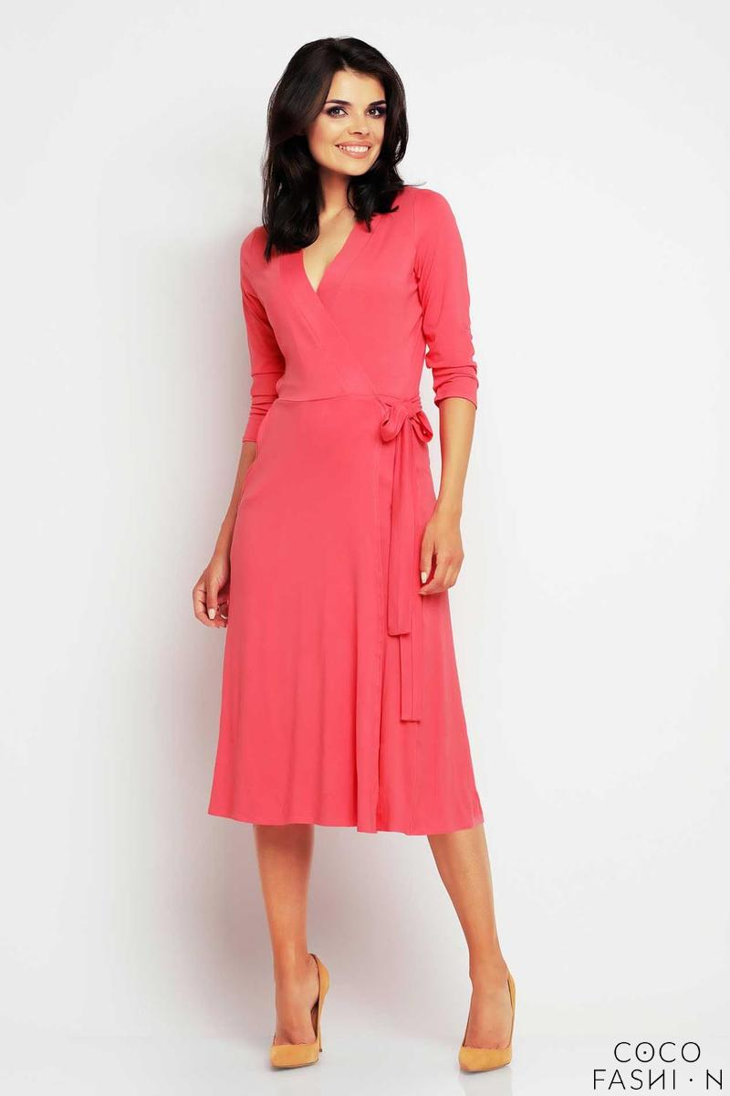 Coral Red Wrap Front Belted Midi Dress