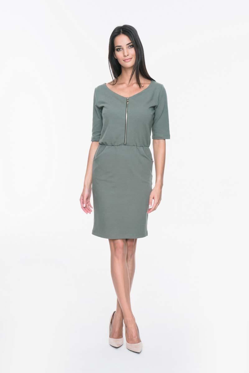 Khaki Casual Dress with Front Zip