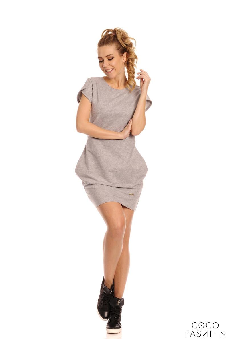 Light Grey Casual Mini Dress with Pockets