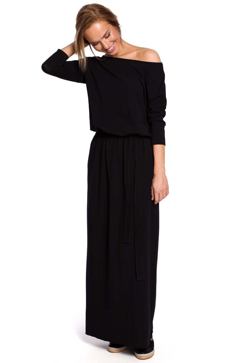 Black Knitted Maxi Dress with belt