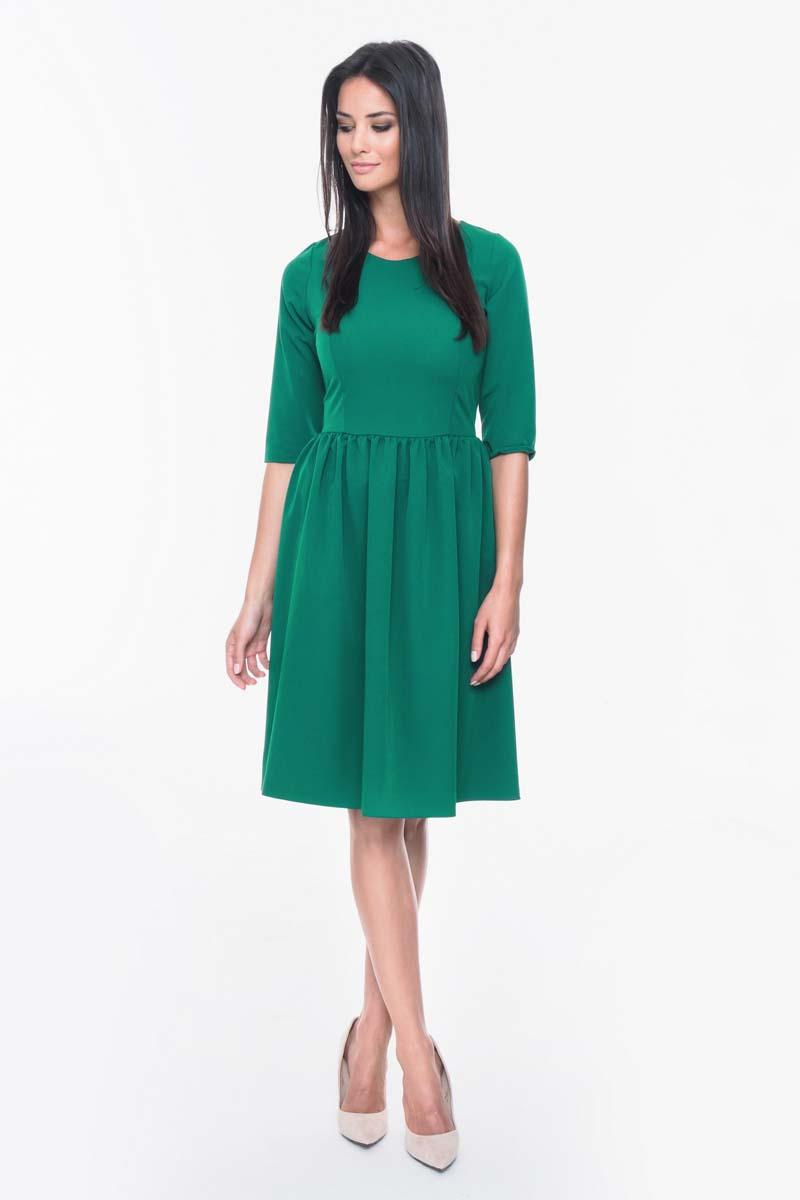 Green Office Style Flared Dress