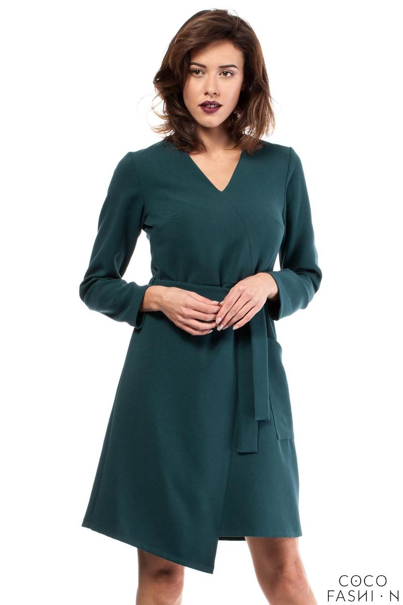 green-asymmetrical-cut-v-neckline-dress-with-a-belt
