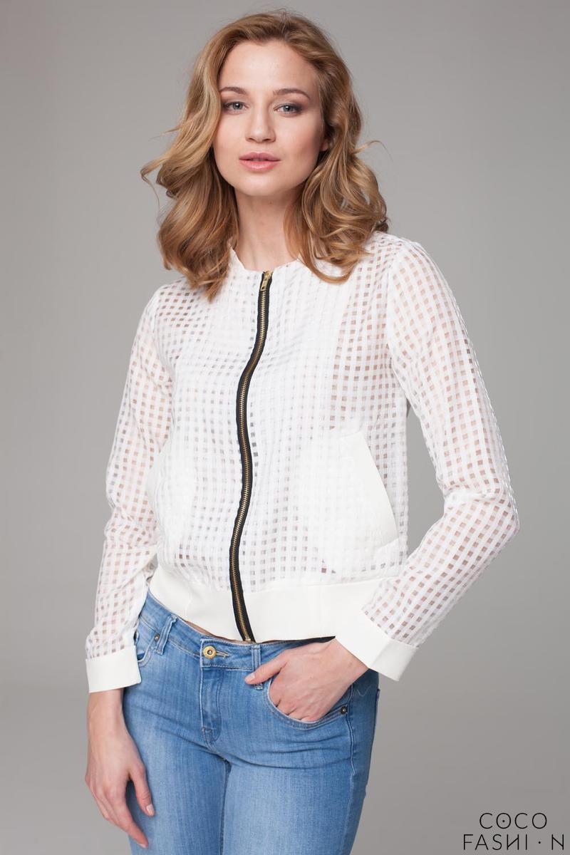 Ecru Thin&Short Stand-up Collar Jacket