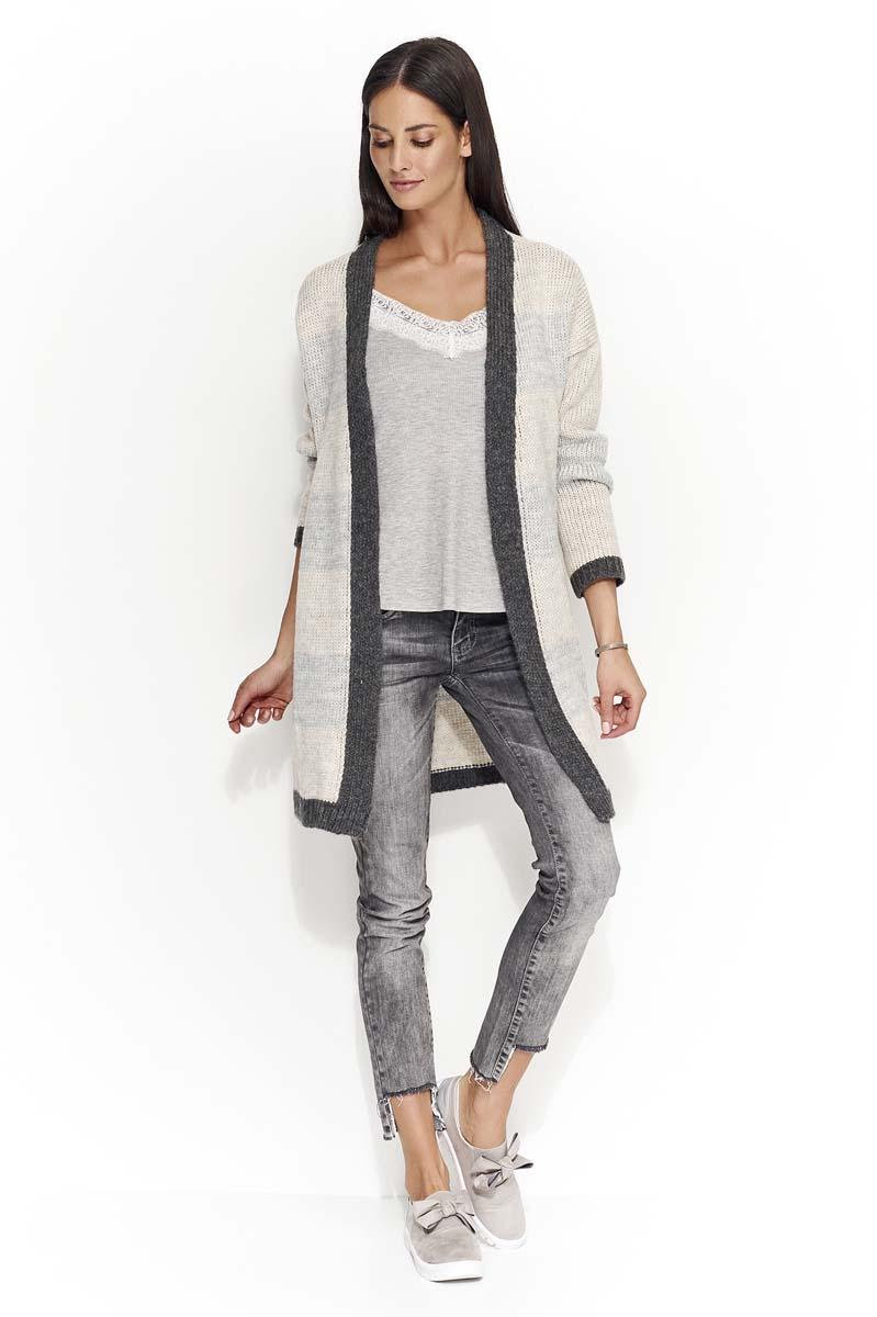 Graphite Gray Beige Long Striped Cardigan without a fastener
