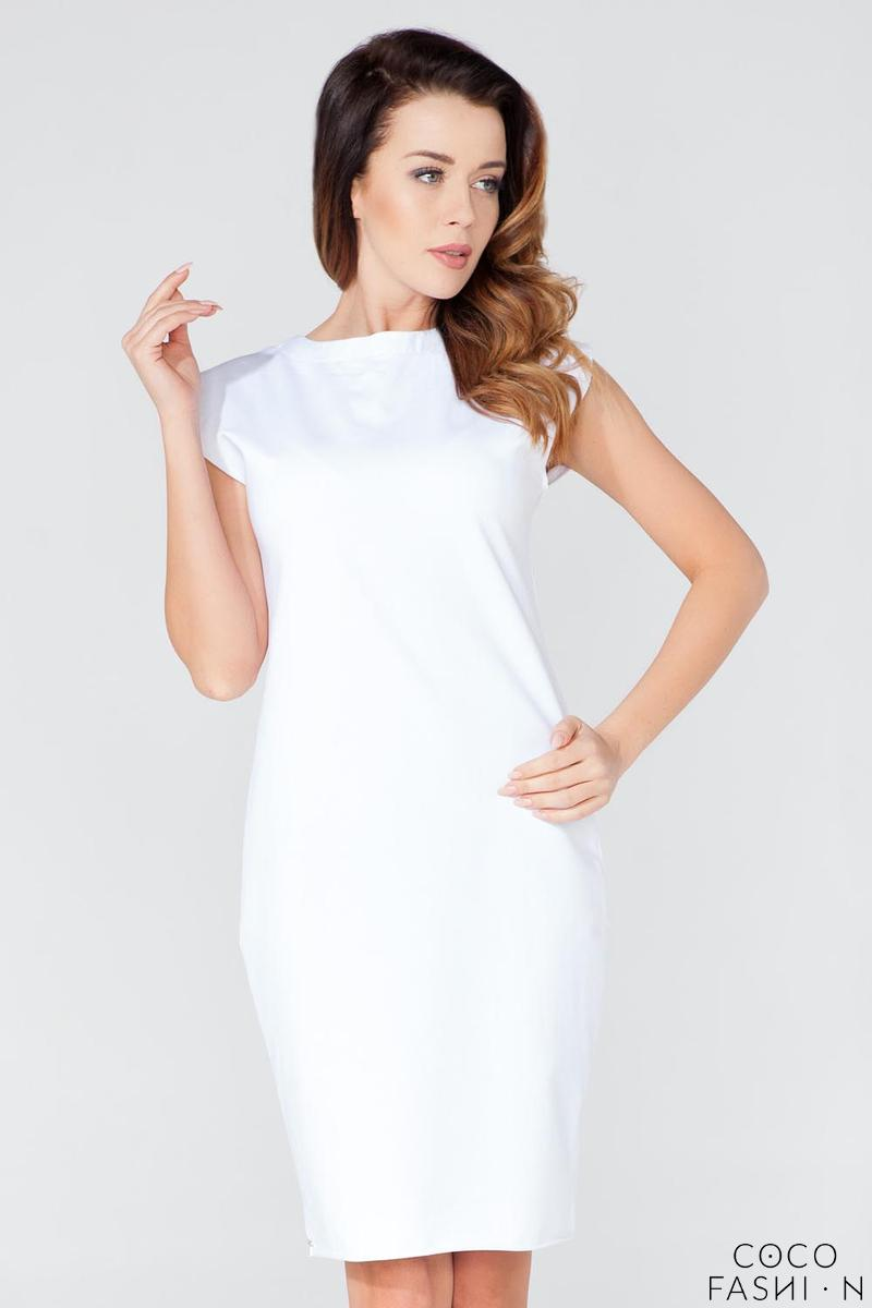 White Decorative Drawstring Knee Length Dress
