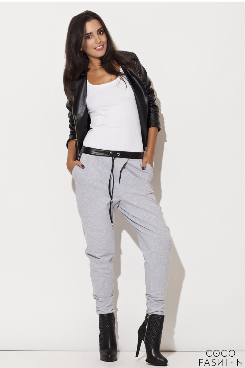Leather Trimmed Grey Pants with Drawstrings