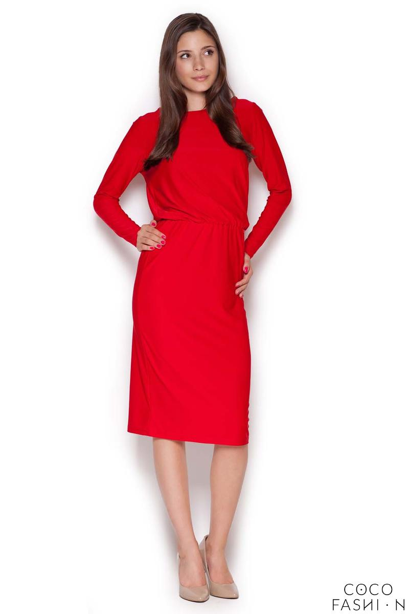 red-back-slit-knee-length-shift-dress