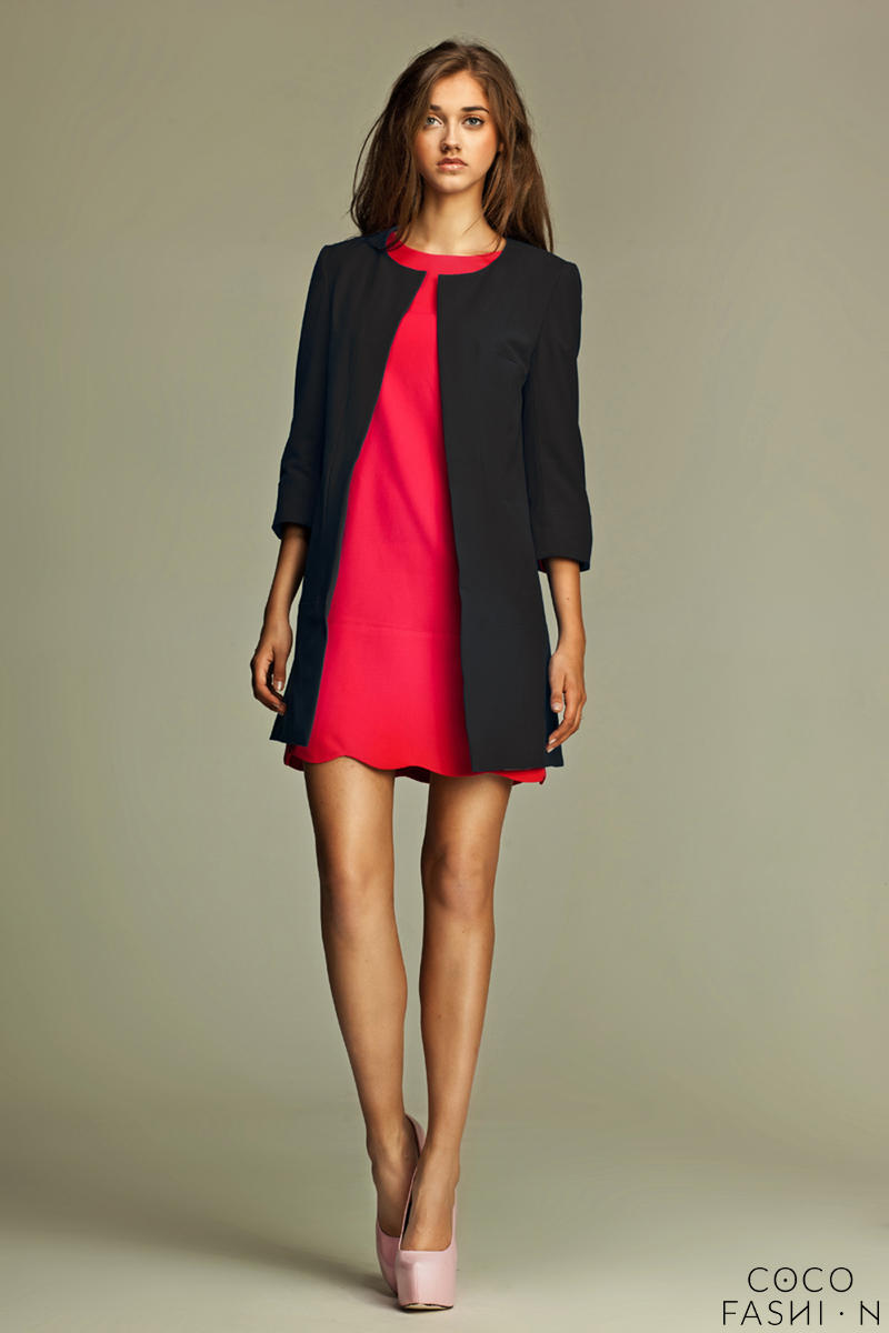Straight Cut Round Neck Front Open Long Black Blazer