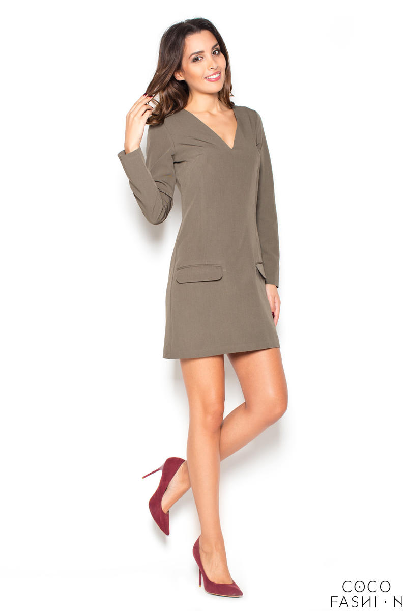 Olive Green Flared 3/4 Sleeves V-Neckline Mini Dress