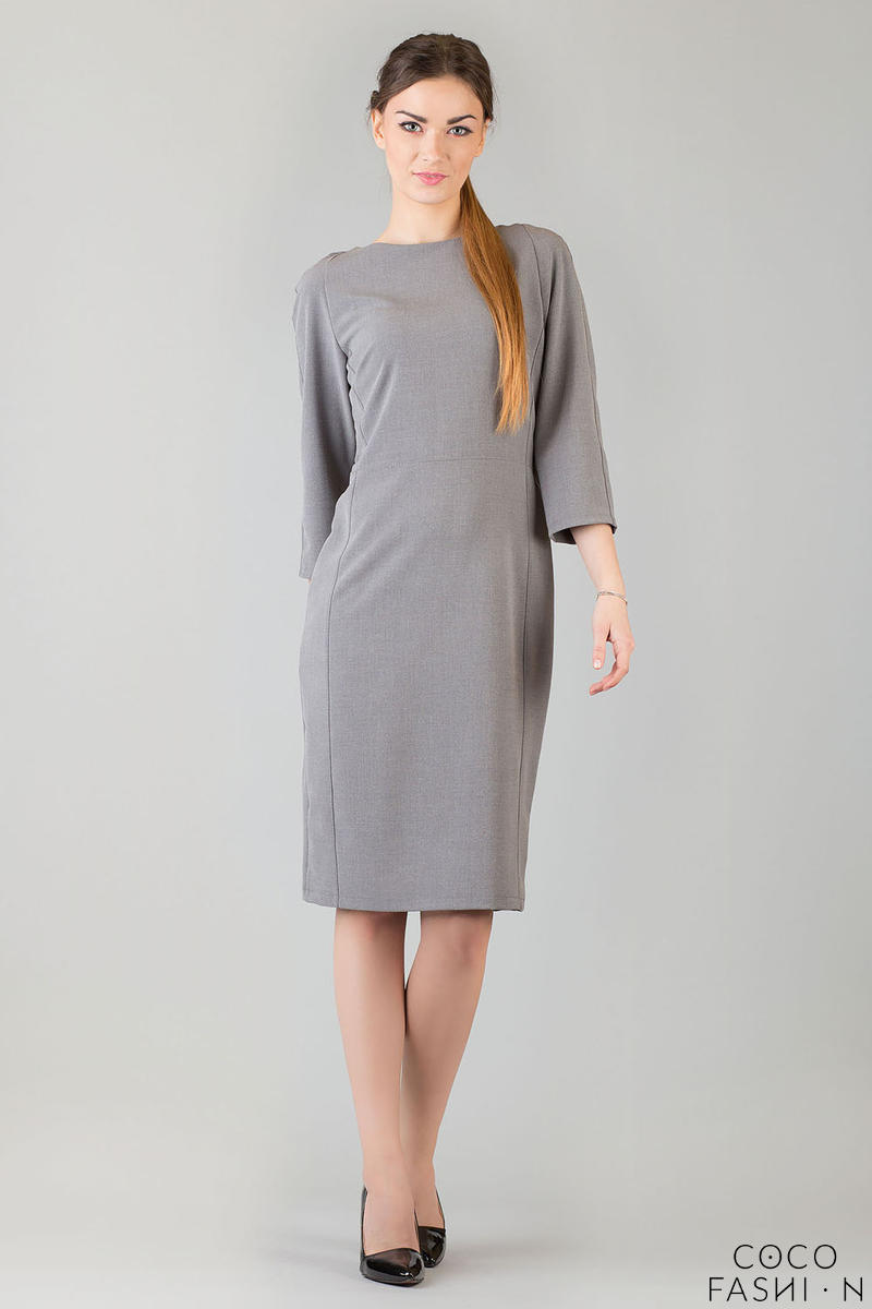 Grey Seam Shift Dress with Back Zip Fastening