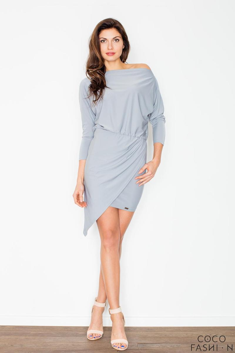 Grey Asymetrical Mini Boat Neckline Dress