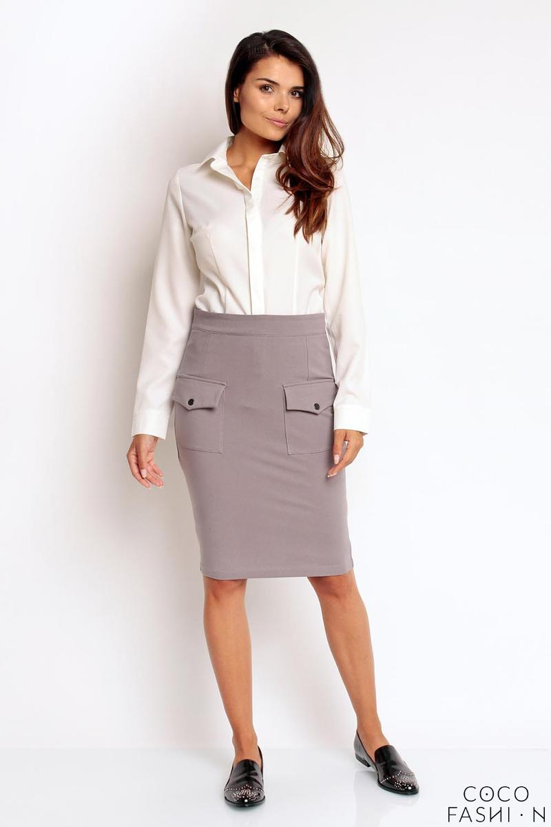 Grey Slim High Waist Front Pockets Skirt