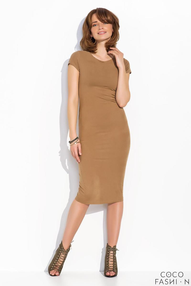 Carmel Brown Bodycon Short Sleeves Midi Dress