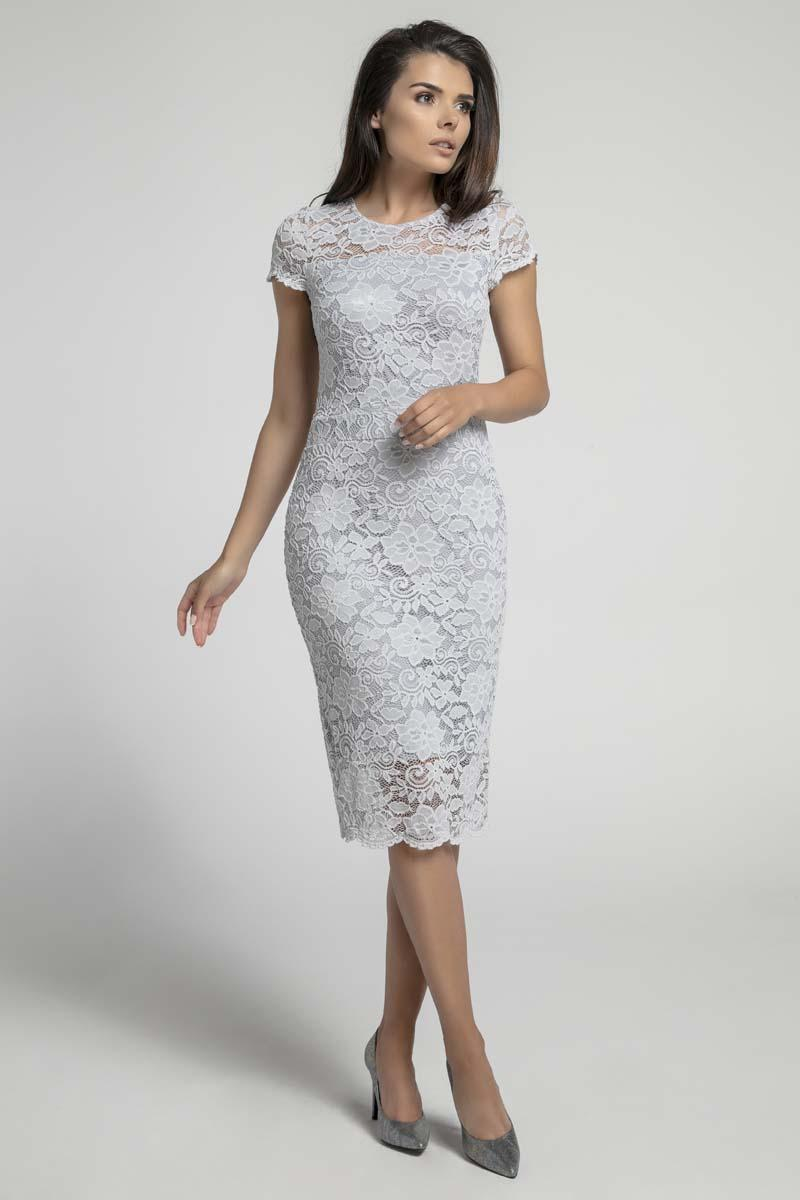 Gray Pencil Midi Dress with V Neckline on the Back