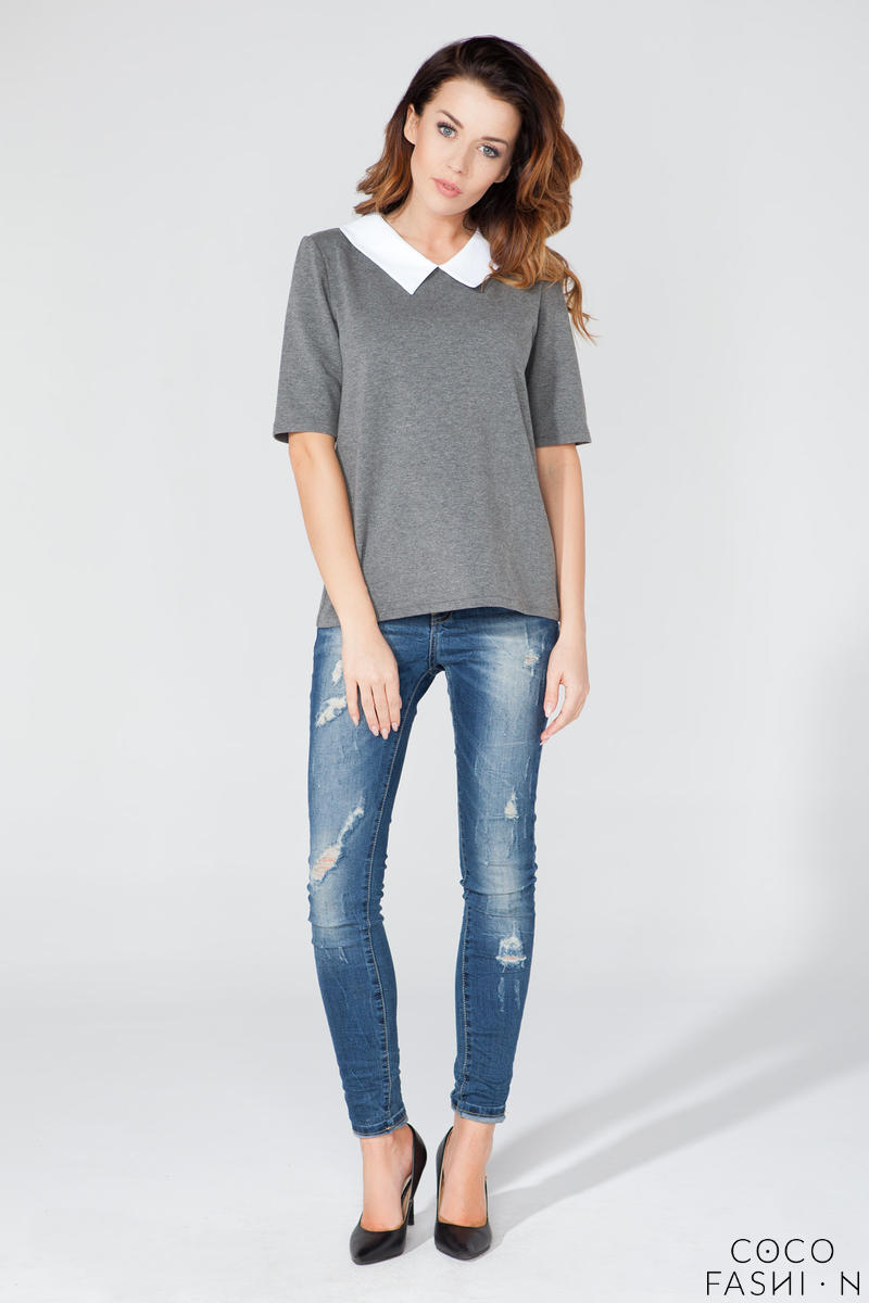 Dark Grey Short Sleeves Contrasting Collar Blouse