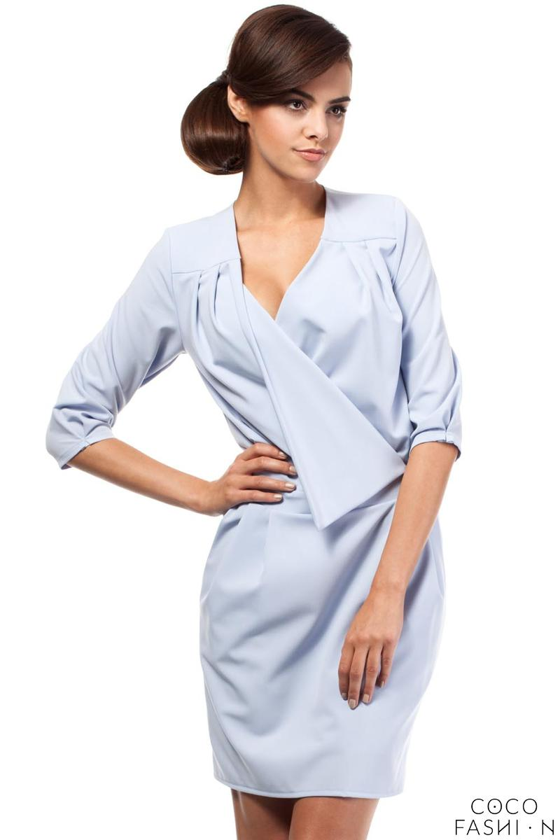 sky-blue-elegant-office-style-unique-collar-dress