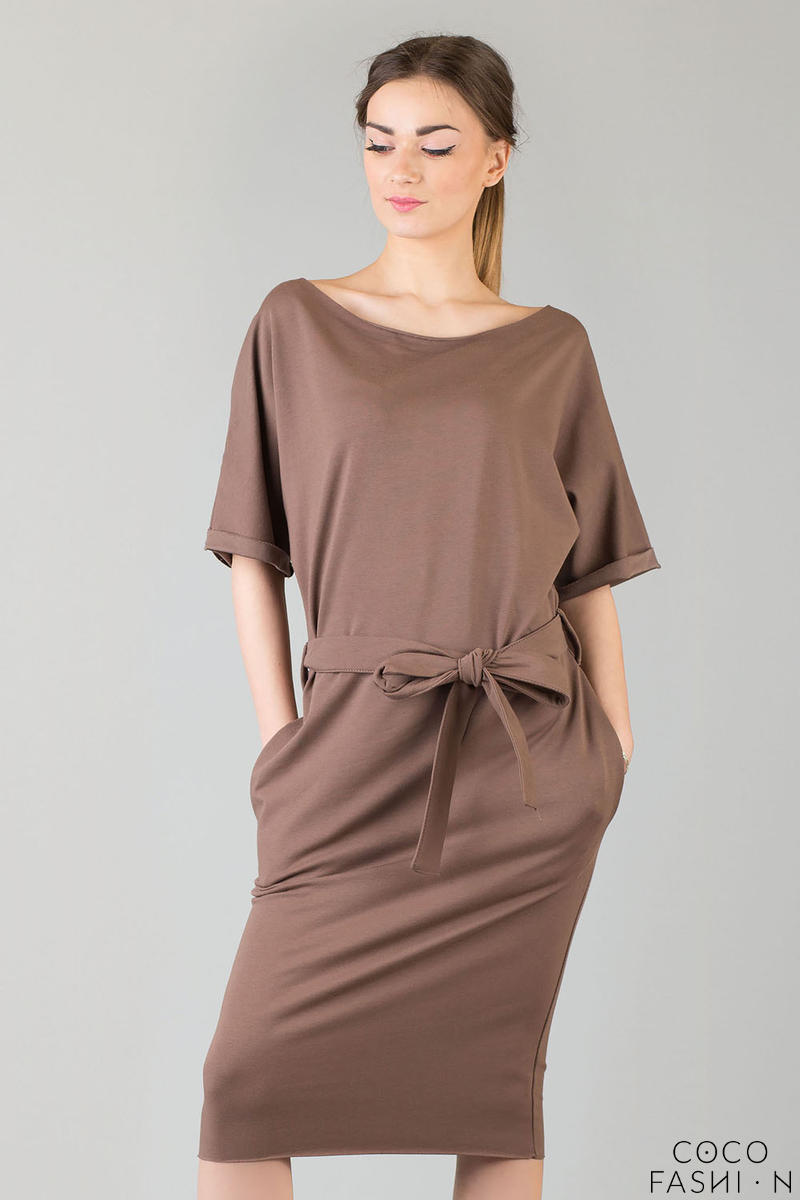 Brown Loose Neckline Self Tie Belt Casual Dress