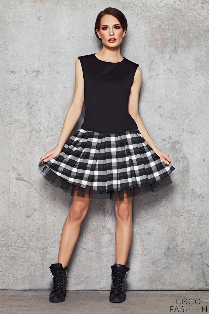 Black and White Checkered Skirt with Contrast Mesh Lining