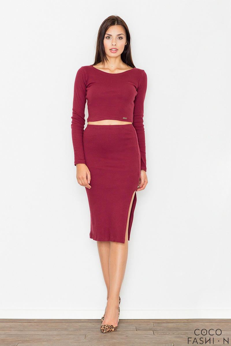 Maroon Two Pieces Set Short Top+Pencil Skirt