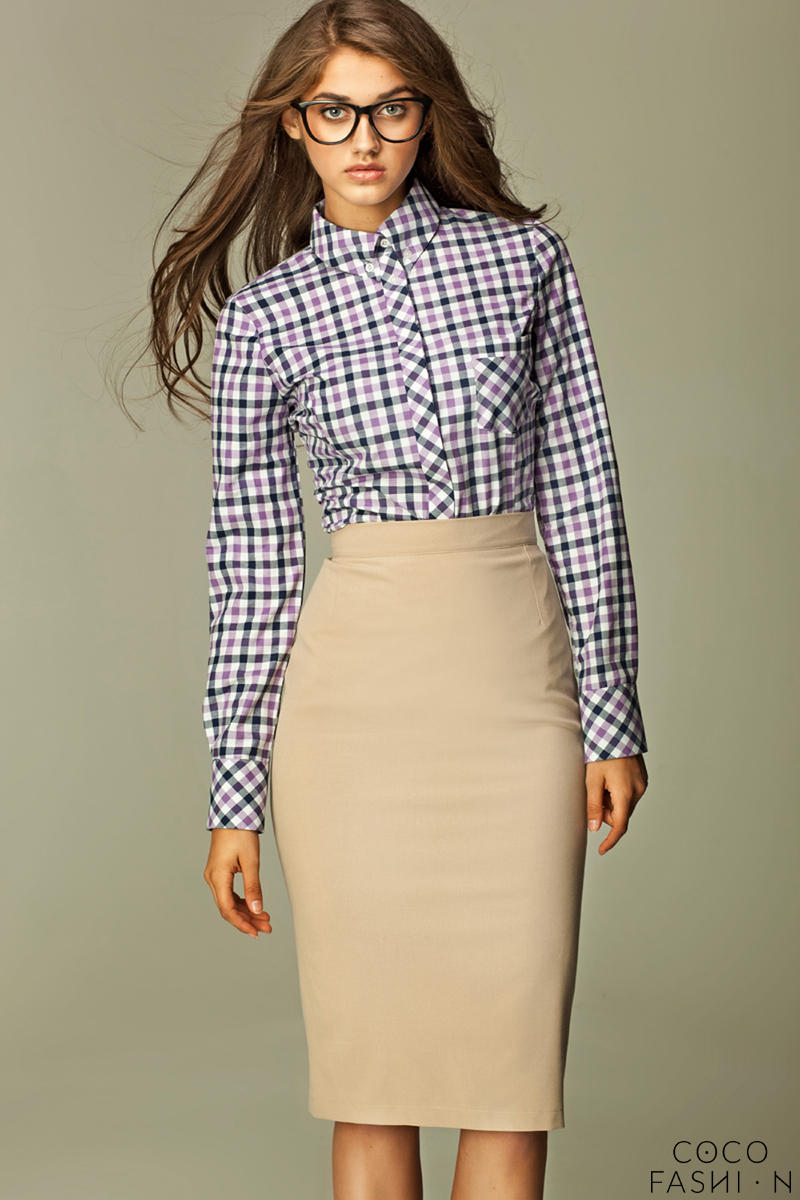 Varied Check Seam Violet Shirt with Concealed Button Fastening