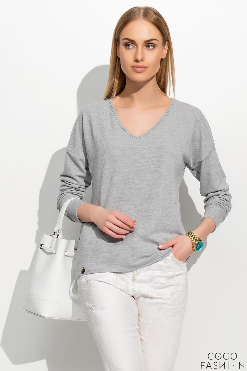 Grey Loose Fit V-Neck Jumper