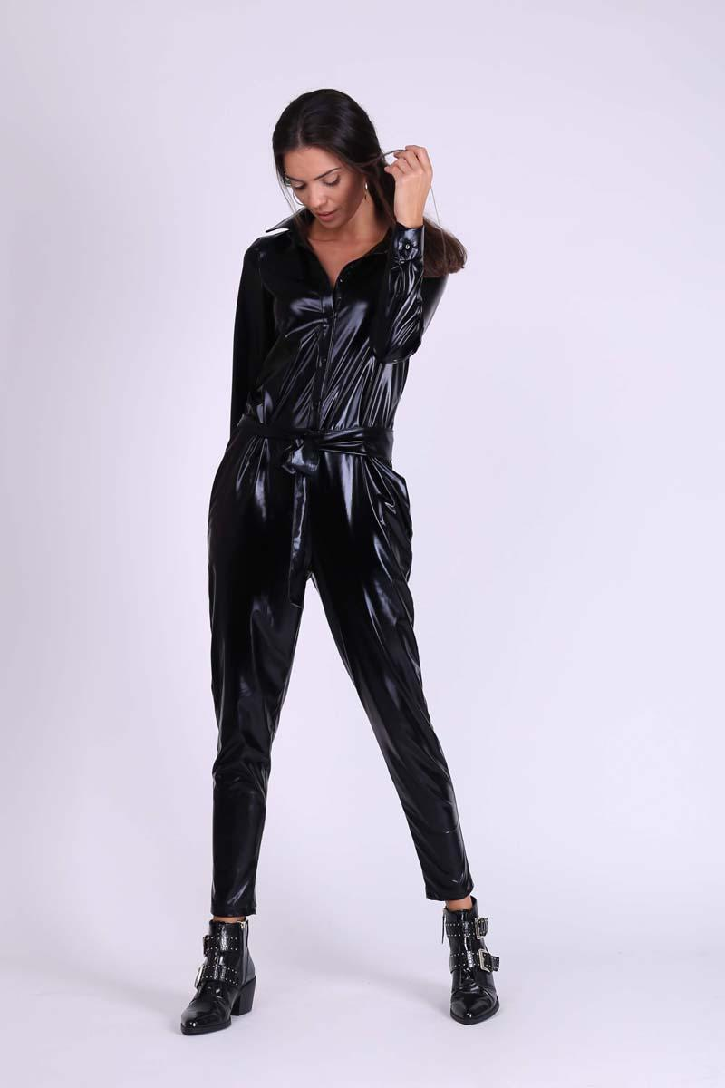 Black Glossy Shirt Type Coverall