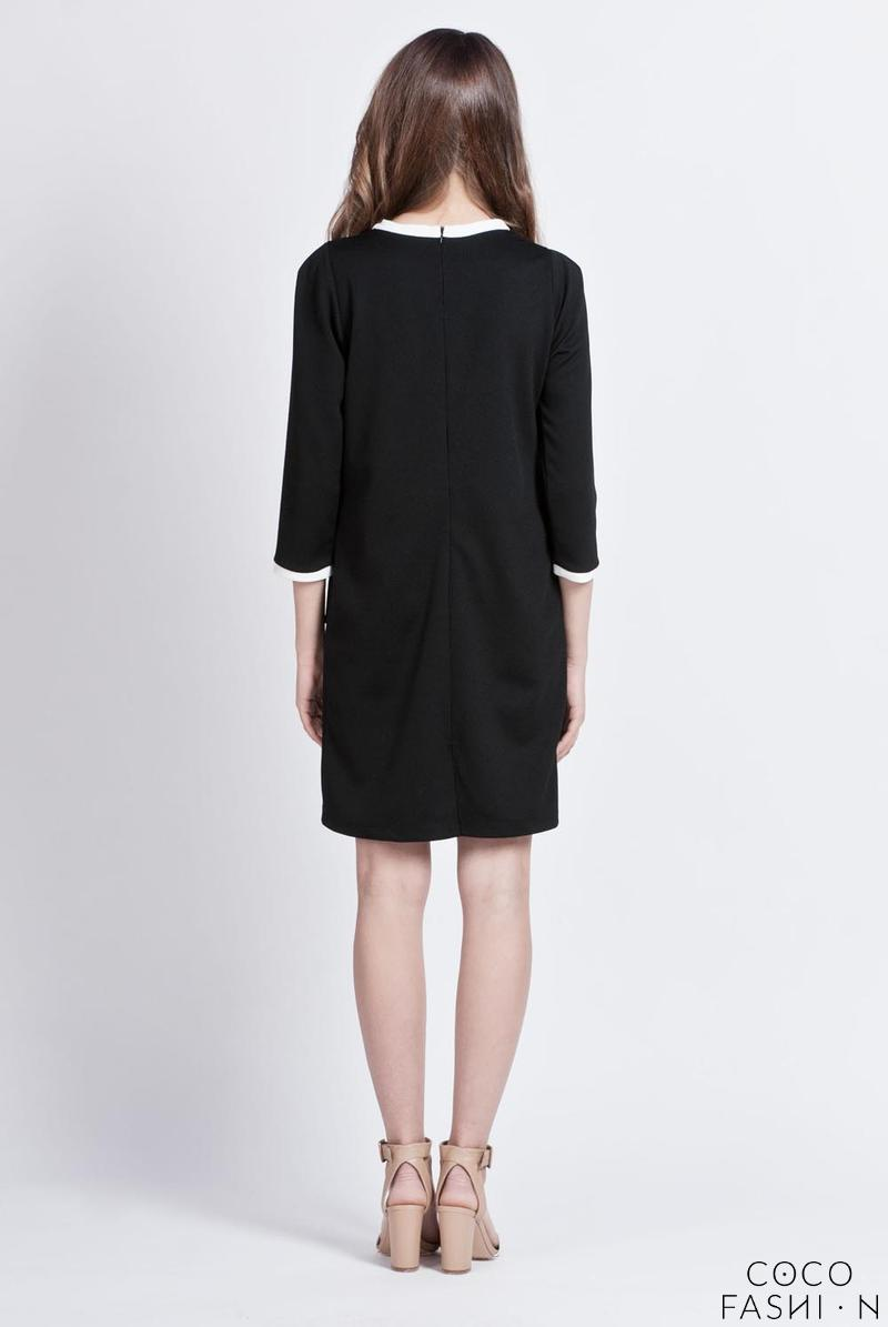 black simple style office dress with piping