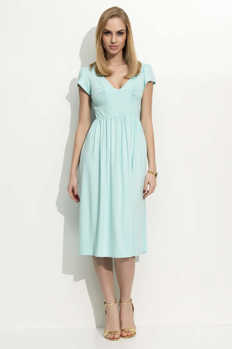 Mint Green Wrinkled Midi Dress