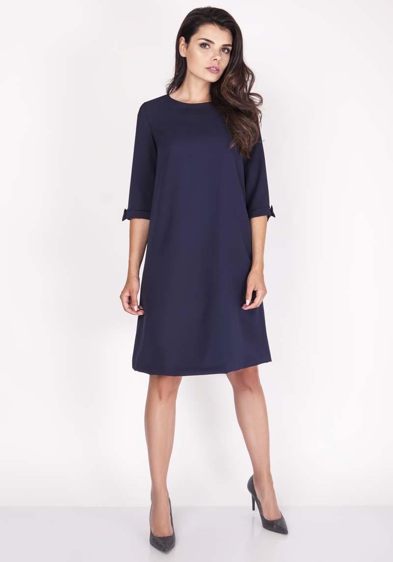 Dark Blue Trapezoidal Dress with Charming Bows