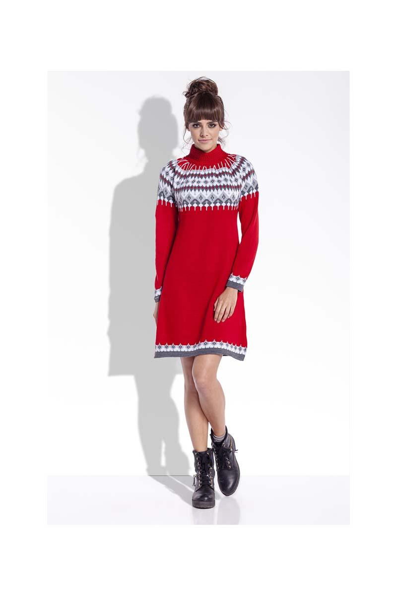 Red Knitted Scandinawian Patterns Dress