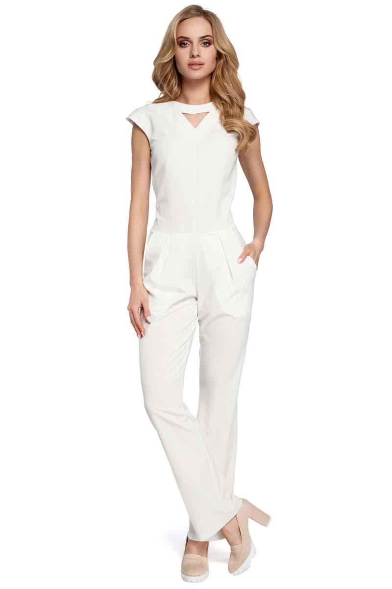 Ecru Jumpsuit with a V-neck